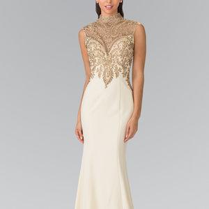 High-Neck Jeweled Sleeveless Long Dress GL2322